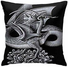 Lsjuee 18 X18 in Pillowcase Mc Escher Art Dragon