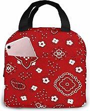 Lsjuee Bandana Prints Red Portable Lunch Bag