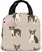 Lsjuee Brown Boston Terrier Dog Insulated Lunch