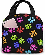 Lsjuee Color Footprints Portable Insulated Lunch