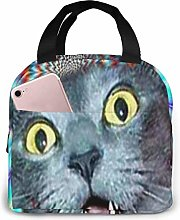 Lsjuee Crazy Cat Hallucination Portable Lunch Tote