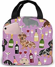 Lsjuee Dachshund Wine Portable Insulated Lunch