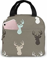 Lsjuee Deer Head Reusable Insulated Lunch Bag