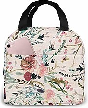 Lsjuee Fable Floral Lunch Box Bag Picnic School