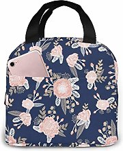 Lsjuee Florals Navy Blush Pink Floral Reusable