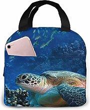 Lsjuee Giant Sea Turtles Lunch Bag Cooler Bag