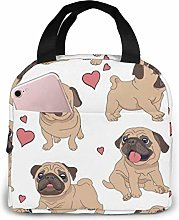 Lsjuee Pug Insulated Lunch Bag Lunch Box Cooler
