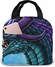Lsjuee Purple and Teal Dragon Portable Insulated