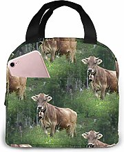 Lsjuee Real Swiss Cow Brown Portable Insulated