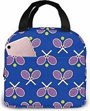 Lsjuee Tennis Racquets Blue Lunch Bag Cooler Bag