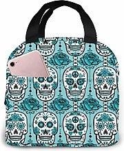Lsjuee Turquoise Sugar Skulls Portable Insulated