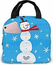 Lsjuee Winter Christmas Snowman Portable Lunch Bag