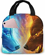 Lsjuee Wolves Ice Fire Insulated Lunch Bag Thermal