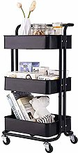 LSNLNN Carts,Metal Kitchen Storage Trolley Rolling