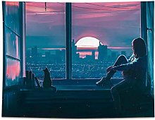 LSSWY Tapestries,Sunset Window Simple Art Wall