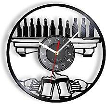 LTMJWTX Beer Vinyl Record Wall Clock For Tavern