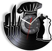 LTMJWTX Chef Vinyl Record Wall Clock For Resturant