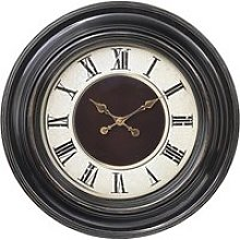 Lublin Wall Clock Round In Brown Frame With Gold