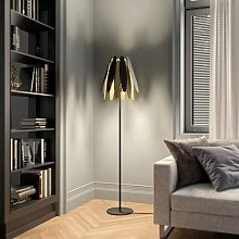 Lucande Lounit floor lamp, black and gold