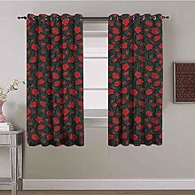 LucaSng Blackout Curtain Thermal Insulated - Red