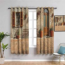 LucaSng Blackout Curtain Thermal Insulated - Retro