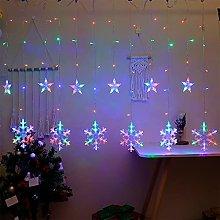 LucaSng LED Curtain Lights,12 Snowflake 138 LED