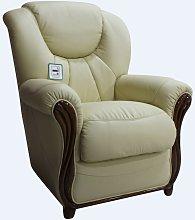 Lucca Genuine Italian Sofa Armchair Cream Leather