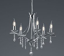 Lucerna chandelier with glass elements, five-bulb