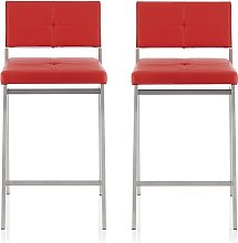 Luciani Modern Bar Stool In Red Faux Leather In A