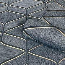 Luciano Geometric Wallpaper Silver Navy Metallic