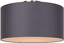 Lucide Flush Ceiling Light, Cotton, E27, 60 W, Grey