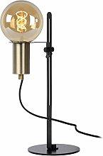 Lucide Table lamp, Steel, 60 W, Black, Satin Brass