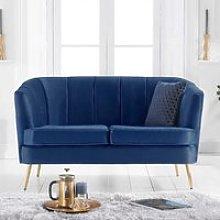 Lucite Velvet Upholstered 2 Seater Sofa In Blue