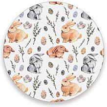 LUCKYEAH Easter Animal Rabbit Egg Round Coasters