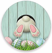 LUCKYEAH Easter Bunny Rabbit Egg Round Coasters