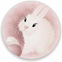 LUCKYEAH Easter Rabbit Egg Flower Round Coasters