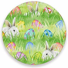 LUCKYEAH Easter Rabbit Egg Round Coasters Table