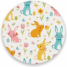 LUCKYEAH Easter Rabbit Flower Egg Round Coasters