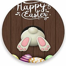 LUCKYEAH Holiday Easter Egg Rabbit Round Coasters