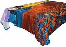 LUCKYEAH Oil Painting Poppy Field Tree Table Cloth