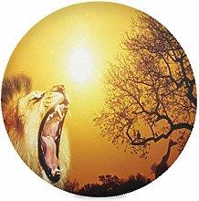 LUCKYEAH Place Mats Animal Lion Giraffe Sunset