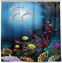 LUCKYEAH Sea Dolphins Tropical Fish Shower Curtain
