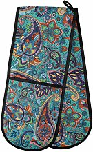 LUCKYEAH Tribal Paisley Floral Double Oven Mitt