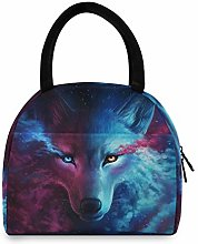 LUCKYEAH Watercolor Cool Animal Wolf Lunch Bag for