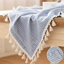 LUCKYHOUSEHOME Blue and White Stripe Tassel