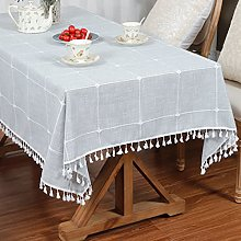 LUCKYHOUSEHOME Cotton Linen Checked Lattice