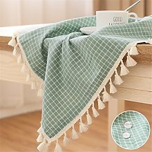 LUCKYHOUSEHOME Green and White Checkered Tassel