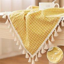 LUCKYHOUSEHOME Yellow and White Checkered Tassel