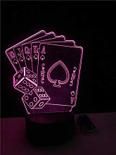 Lucsiky 3D Night Light Illusion Lamp-Playing card