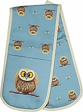 Lucy Pittaway Double Oven Gloves - Owl & Bees -